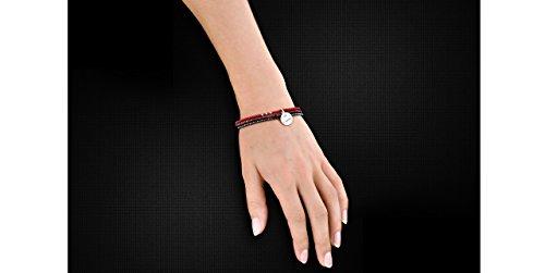Canyon bijoux Bracelet je t'aime en argent 925 passivé, Cornaline, Grenat, 1.21g