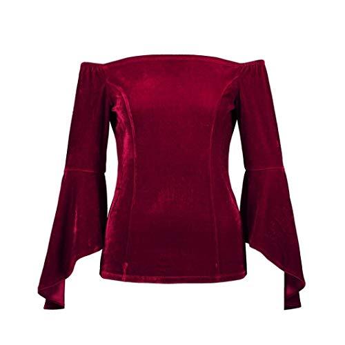 Sweatshirt Chemises Velours Femmes Pantacourt Blouses Élégant Winered Off Sh Vintage 7BxdHHw4