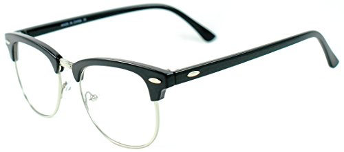 Vintage Inspired Classic Half Frame Horn Rimmed Nerdy Clear Lens Glasses (Black w/ - Glasses Black Nerdy