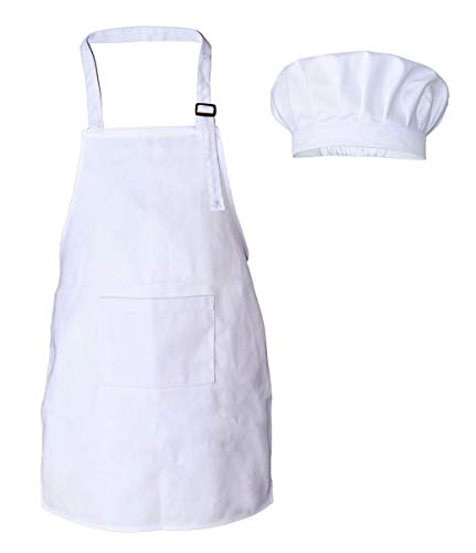 Kids Chef Apron and Hat Set, Cotton Material Child Chef Costume, Perfect for Under the Age of 6 Children Cooking, Baking, Painting (White)]()