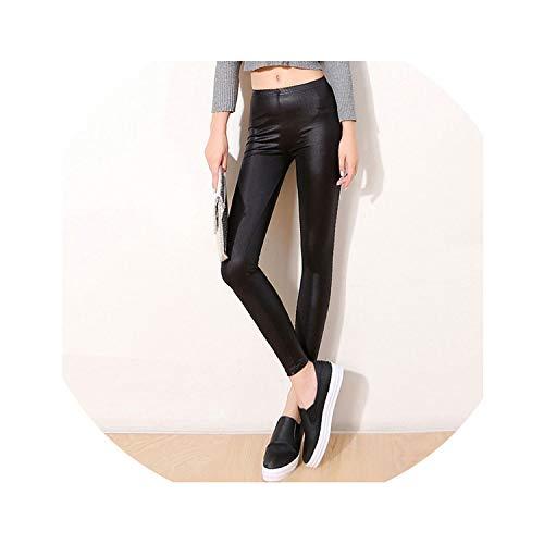 (Himora novelty-legging Autumn Faux Leather Sexy Thin Bla Leggings Calzas Mujer Leggins Leggings Stretchy Plus Size 4XL 5XL,bla,4XL Black)