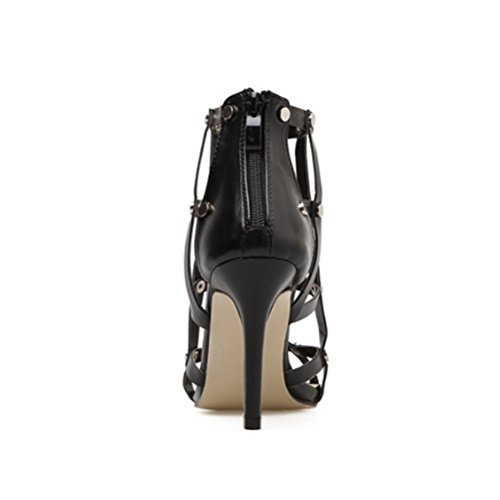Sandali Nightclub Nero QPYC posteriore Walking Scarpe Ladies da Grid Toe Rivets nero Open donna Stiletto Show Zipper wzwxSR