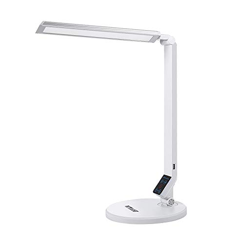 WITLIGHT LED Desk Lamp Dimmable, Natural Bedside Lighting with USB Charging Port, Table Reading Light, 5 Levels Brightness, 5 Color Modes, 96 LEDs with Eye Caring, Revealing True Color(Ra>95), - Silver Light Natural