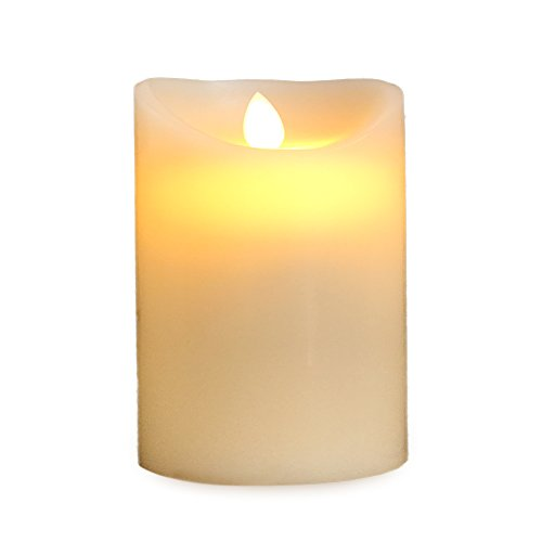 Gideon 5 Inch Flameless LED Candle - Real Wax & Real Flickering Candle Motion - with Remote (On/Off, Timer, Dimmer) - Vanilla Scented, Ivory