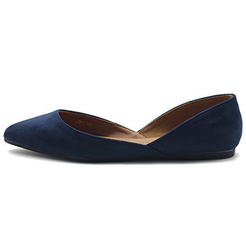 Ollio Women's Shoes Faux Suede Slip On Comfort Light Pointed Toe Ballet Flat