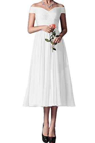 Ivydressing Damen der Festkleid Abendkleid Chiffon Knoechellang Weiß ...
