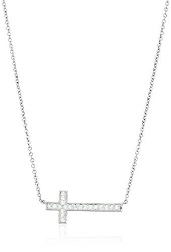Sideways Crystal Cross Fashion (Sterling Silver Clear Crystal Sideways Cross Necklace,)