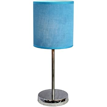 Simple Designs LT2007-BLU Chrome Mini Basic Table Lamp with Fabric Shade, Blue