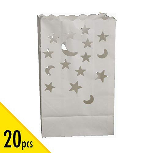 20 pcs White Luminary Candle Bags Special Lantern Luminary Bag Stars Moon Durable Reusable Fire-Retardant Cotton Material Wedding Valentine Reception Engagement Event Marriage Proposal for $<!--$11.99-->