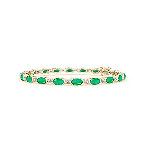 Semi Bezel-Set Oval Emerald and Diamond Tennis Bracelet in 14K Yellow Gold (5x3mm Emerald)