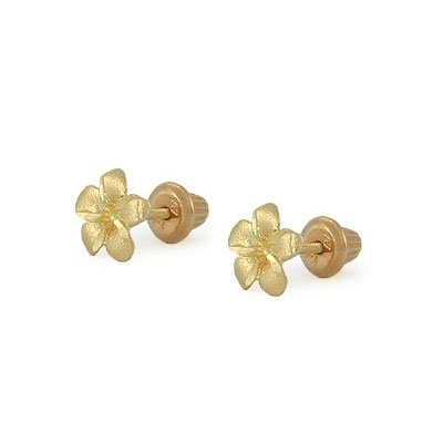 14K Yellow Gold Plumeria Flower Screw Back Stud Earrings For Girls by Loveivy