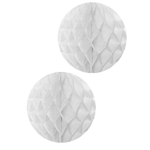 Allydrew Hanging Party Decoration, 16 Inch Tissue Honeycomb Ball for Weddings, Birthday Parties, Baby Showers, and Nursery Décor (2 pack), White