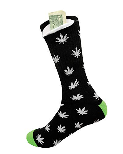 Weed Socks with Pocket by Sockaroo | for Men and Women | Stash your Wallet, Keys, Marijuana, Huf, Pot, Hemp, Pen or Pipe | (Black with Grey Leaf)