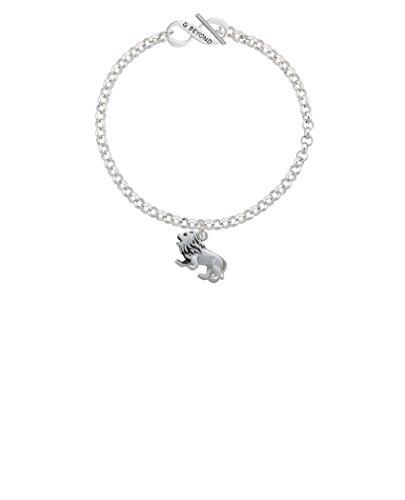 Silvertone 3-D Lion & Beyond Infinity Toggle Chain Bracelet, 8