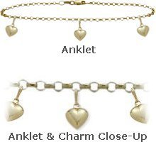 10K Yellow Gold 9'' Belcher Style 3 Heart Charm Anklet by Elite Jewels