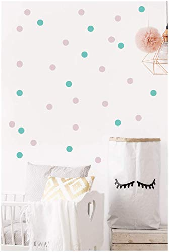 Blush pink and mint nursery polka dot wall decals decor 1.5