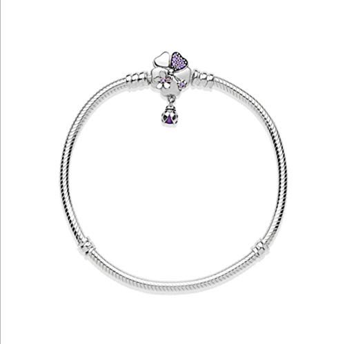 Pandora Jewellery - Purple Crystal Cherry Blossom Flower Safety Clip Charm 925 Sterling Silver Jewellery Lovely Animal Dangle Birthstone Charms for DIY Pandora Women's Moments Clasp Bracelet(17cm-6.5Inches)