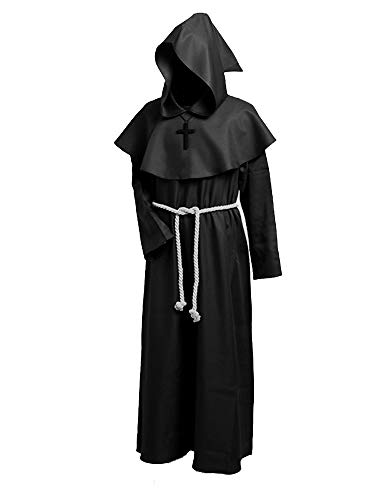 Medieval Friar Monk Hooded Renaissance Priest Cloak Robe