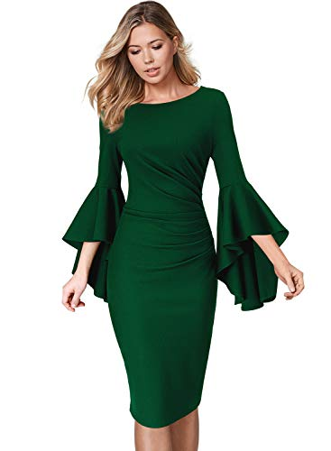 VFSHOW Womens Green Ruffle Bell Sleeves Slim Ruched Business Cocktail Party Sheath Dress 2333 GRN XS ()