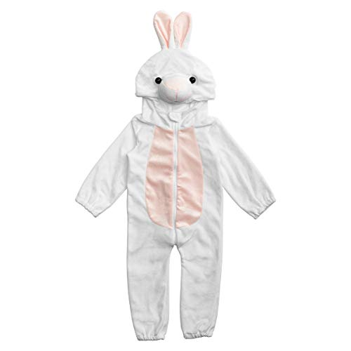 Bunny Rabbit Halloween Costume Baby (HollyHOME Baby Girl Romper Cosplay Costume Cuddly Rabbit Toddler Cosplay Pajamas One Piece Jumpsuit Animal Cosplay Outfits Sleeping Wear for)