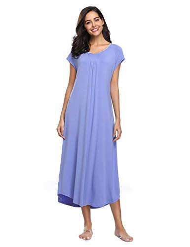 Lusofie Long Nightgowns Women's V-Neck Sleepwear Cap Sleeve Loungewear Eye Mask (Blue,L)