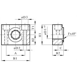 Swivel bearing for detachable trunnion mounting for cylinder diameter 40/50mm