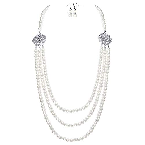 (BABEYOND 1920s Gatsby Pearl Necklace Vintage Bridal Pearl Necklace Earrings Jewelry Set Multilayer Imitation Pearl Necklace with Brooch (Style2-Silver))