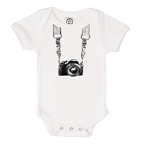 The Spunky Stork Photographer Organic Cotton Baby Bodysuit (6-12M) White