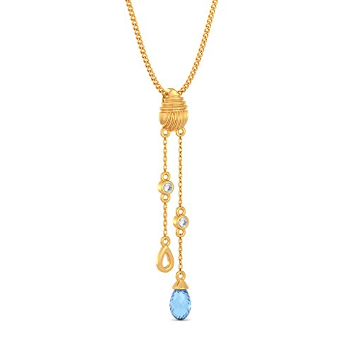 14K Or jaune 0,03CT TW Round-cut-diamond (IJ | SI) et topaze bleue Pendentif
