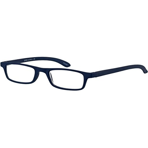 I NEED YOU Rectangular Reading Eyeglasses Blue Zipper Designer Frames For Men & Women Spring Hinge And High-Quality Plastic Lenses - Prescription Eyewear With Power - Lens Rimless Shapes For Eyeglasses