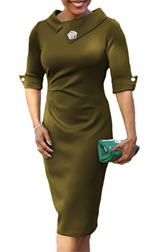 noabat Women's Pencil Dress with Pleated Detail Back Zipper 3/4 Sleeve Sheath Dress ArmyGreen ()
