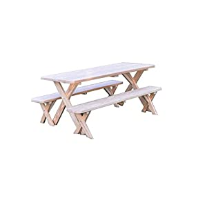 Pressure Treated Pine 4 Foot Cross Leg Picnic Table with Detached Benches- Redwood Stain