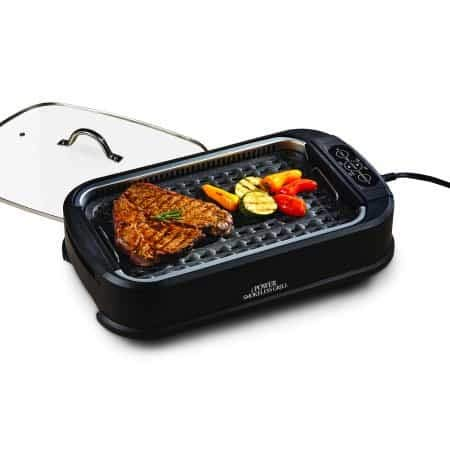 Power Smokeless Grill with Tempered Glass Lid with Interchangeable Griddle Plate and Turbo Speed Smoke Extractor Technology With 2 Kitchen Tongs