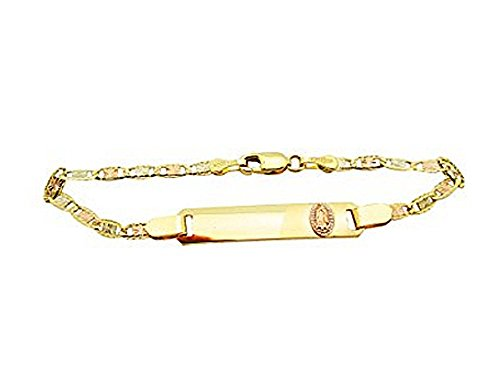 Children's Babies 10k Tri Gold Valentino link ID Bracelet 5.5 in With Guadalupe by AMZ Jewelry