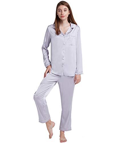 ENIDMIL Womens Silk Satin Pajamas Set Sleepwear Loungewear S~2XL Plus (L, Gray)