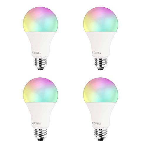 Smart LED Light Bulb A21 by 3Stone, E27 WiFi App Controlled UL Listed, Dimmable White and RGB Colors 100W Equivalent, Works Perfect with Amazon Alexa Google Assistant IFTTT (4 Pack)