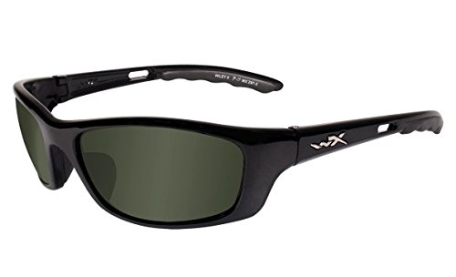 Wiley X P-17 Sunglasses, Polarized Smoke Green, Gloss Black
