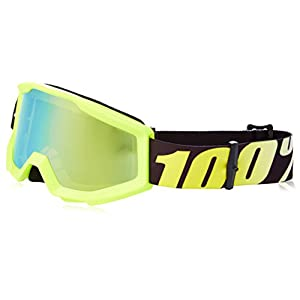 100% 50510-004-02 Unisex-Adult Strata Junior MX Motocross Goggles (Neon Yellow/Mirror Gold,One Size Fits Most)