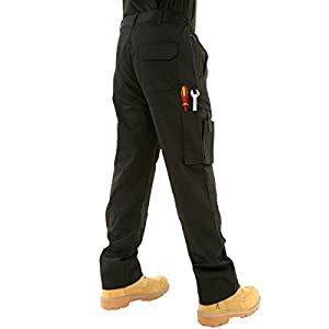Mens Combat Cargo Work Trousers Size 30 To 52 With Knee Pad Pockets – by BKS