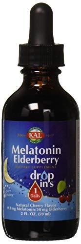 (Kal 0.3 Mg Melatonin Cherry Elderberry Dropins, 2 Fluid Ounce)