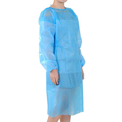 C2 Eco Supplies Polypropylene Isolation Disposable Latex Free Gowns for Medical Procedures, Health-Care Workers, Patients, Contact Precautions with Elastic Cuffs, Tie Back (Blue, One Size) – 10 Pack Price & Reviews