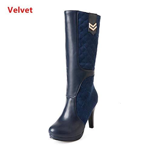 43 Mi Chaussures Femmes Bottes Froid Imperméables mollet nbsp;bleu 33 Velours Plate Hiver Taille Chaud forme Talons Hauts À Courtes Haoliequan Botas qXEwftf