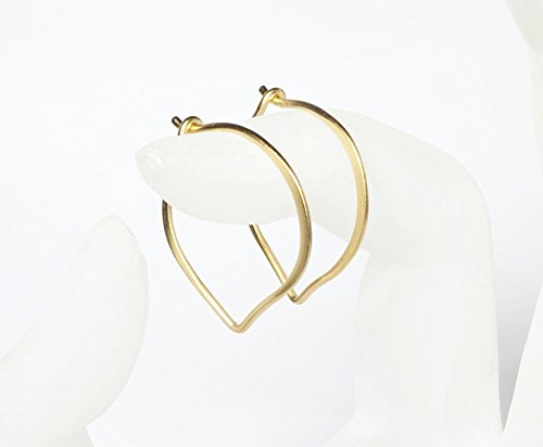 - Gold Hoop Ear Wires, Vermeil Small Lotus Petal Earrings