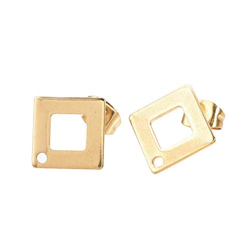 ARRICRAFT 10 Sets Metal Ear Stud Components with Earnuts Rhombus Earring Setting for Earring Making