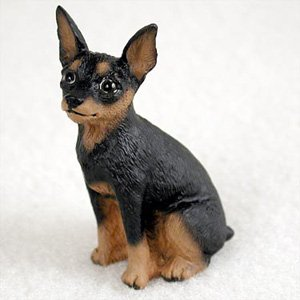 BonsaiOutlet Miniature Pinscher Tan and Black Dog Figurine, Height Approx. 2 Inches