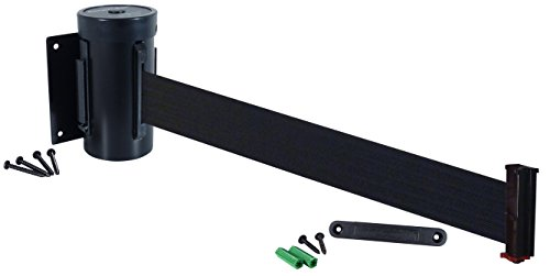 Visiontron WM700-auto-10SB-BK Retracta-Belt 10' Wall Mount Automatic Retracting Unit w/Standard Fixed/Removable Wall Plate - Black with Black Belt, Standard Belt End