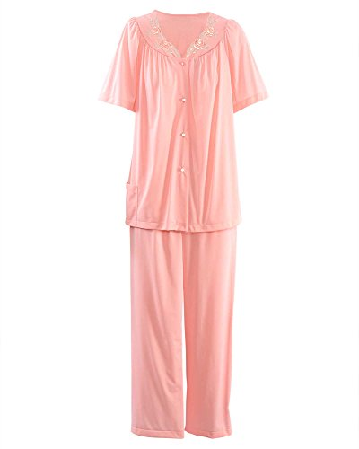 Embroidered Nylon Pullover - Shadowline Petals Short Sleeve Pajamas, Melon, 40