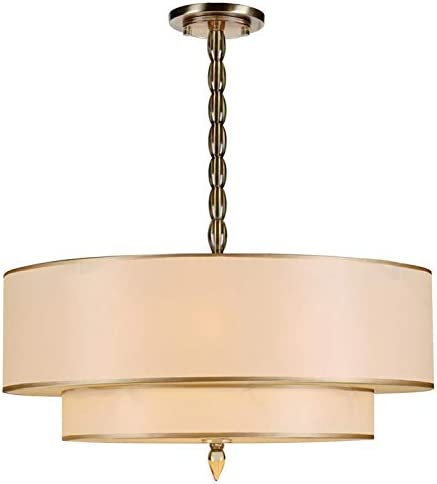 Luxo 5 Light Drum Shade Brass Chandelier