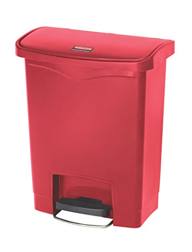 Rubbermaid Commercial Slim Jim Front Step-On Trash Can, Plastic, 8 Gallon, Red  (1883564) by Rubbermaid Commercial Products