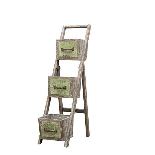 苦しめられたフランスの牧歌的な国の棚、ビンテージアートスタイルの植物台形フラワースタンド、棚、庭の園芸収納棚 PingFanMi B07RNQB53K